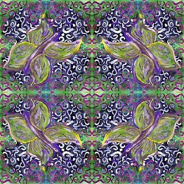 green and purple butterfly with swirly pattern by DlmtleArt