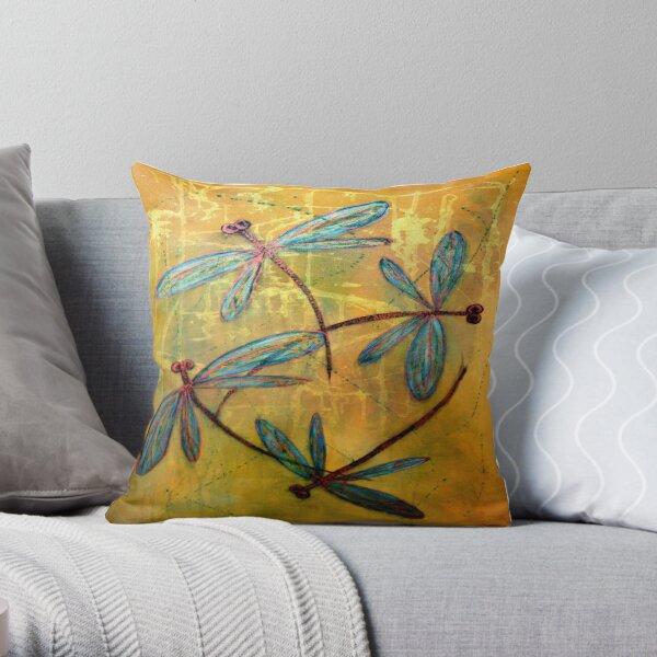 Dragonfly Haze Throw Pillow