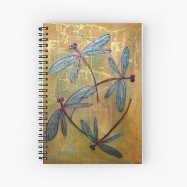 Fondo lavado dorado y azul. ¡Perfecto para los amantes de las libélulas! De mi obra original de libélula. LyndseyArt Cuaderno de espiral