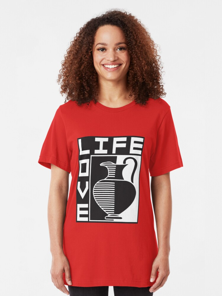 Alternate view of LIFE, LOVE, POTTERY Slim Fit T-Shirt