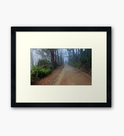misty mountain road Framed Print