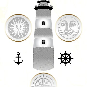 Nautical illustration of sun, moon and lighthouse in retro stamp design by schtroumpf2510