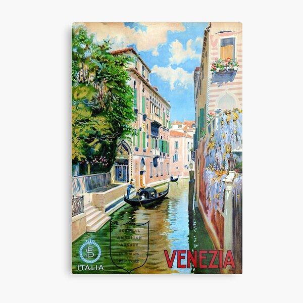 Italy Venice Vintage Travel Poster Restored Metal Print
