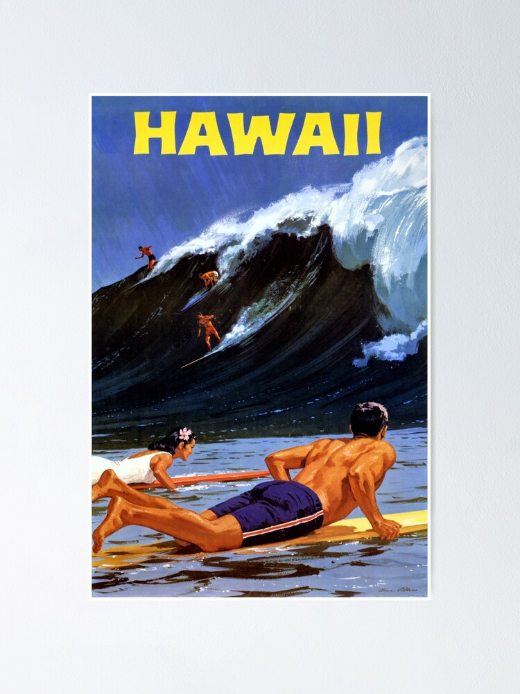 Alternate view of Hawaii Vintage Travel Poster Restored Poster