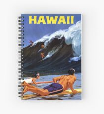 Hawaii Vintage Travel Poster Restored Spiral Notebook