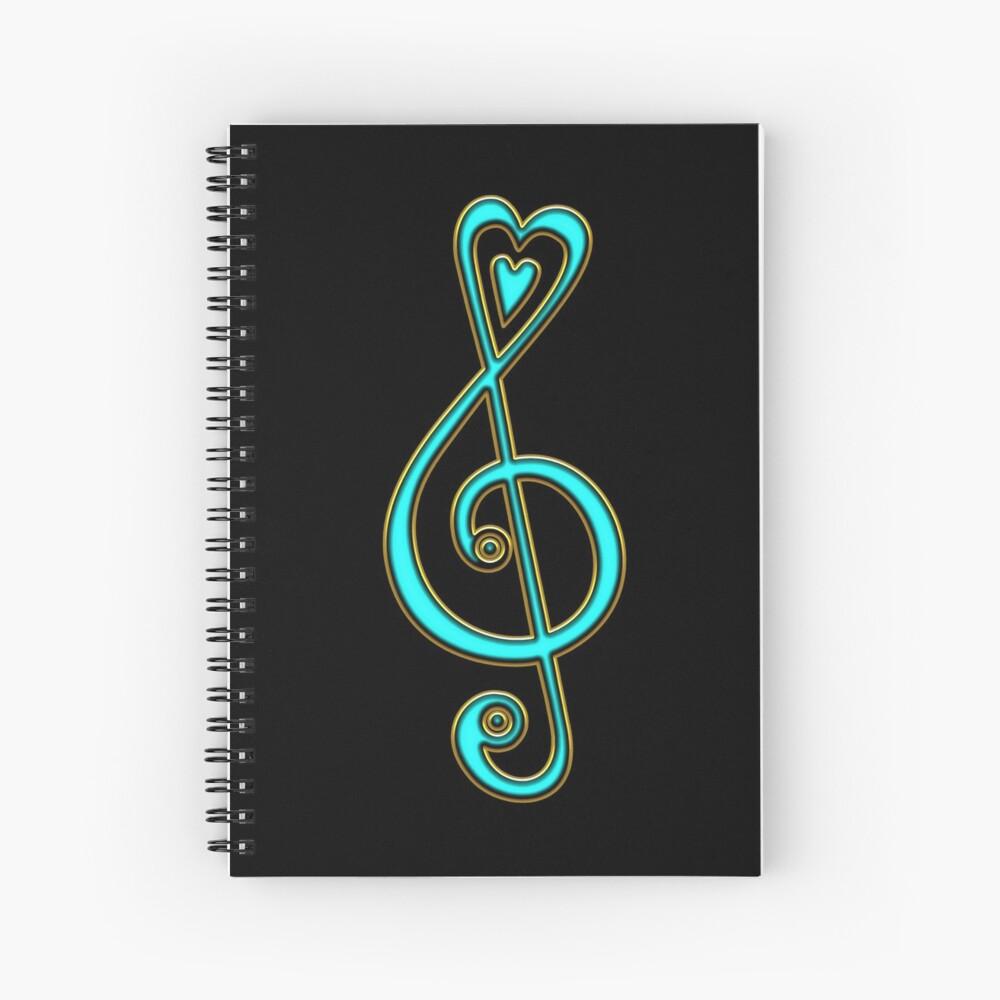 Notenschlüssel, Violinschlüssel, Musik Herz, Noten, Musiker, Festival, Chor, Band Spiralblock