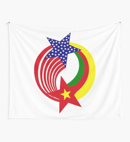 Cameroon American Multinational Patriot Flag Series Wall Tapestry