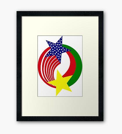Burkina Faso American Multinational Patriot Flag Framed Print