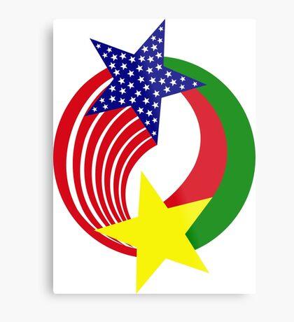 Burkina Faso American Multinational Patriot Flag Metal Print
