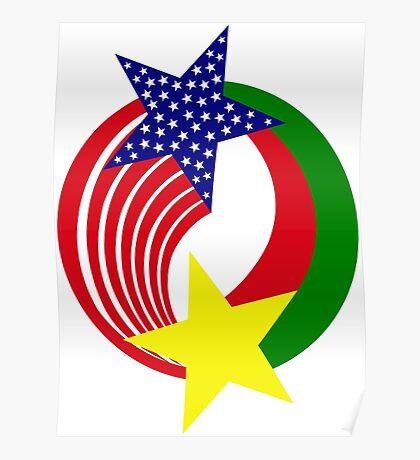 Burkina Faso American Multinational Patriot Flag Poster