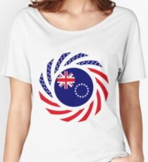 Cook Islands American Multinational Patriot Flag Series Women's Relaxed Fit T-Shirt
