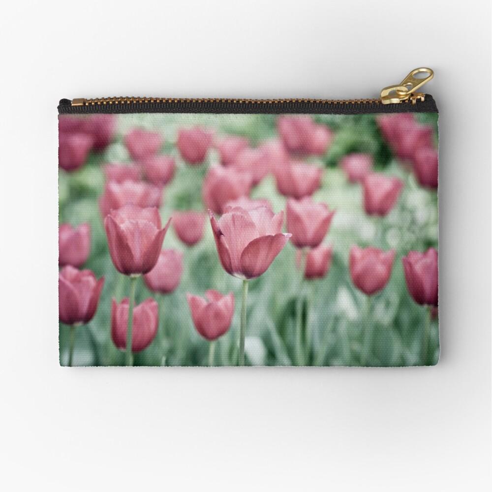 Pink Tulip Field Zipper Pouch