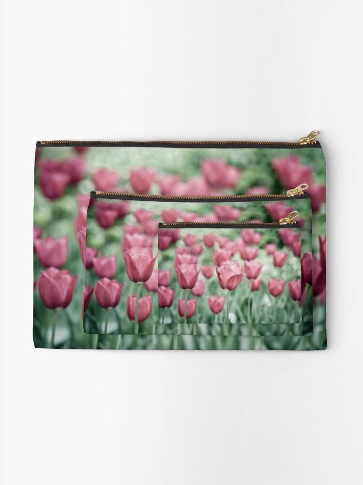 Alternate view of Pink Tulip Field Zipper Pouch