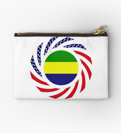 Gabonese American Multinational Patriot Flag Series Zipper Pouch