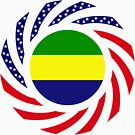 Gabonese American Multinational Patriot Flag Series by Carbon-Fibre Media