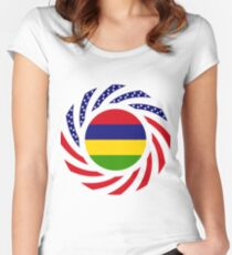 Mauritius American Multinational Patriot Flag Series Women's Fitted Scoop T-Shirt