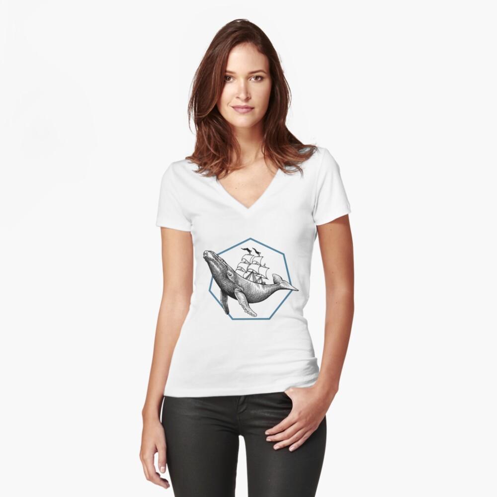 Blauwal Tailliertes T-Shirt mit V-Ausschnitt