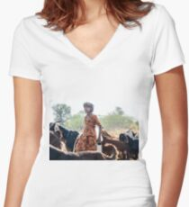 Goatherder Women's Fitted V-Neck T-Shirt