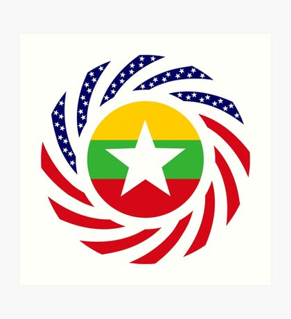 Myanmar American Multinational Patriot Flag Series Art Print