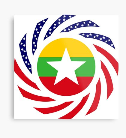 Myanmar American Multinational Patriot Flag Series Metal Print