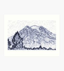 Mt. Rainier Drawing Art Print