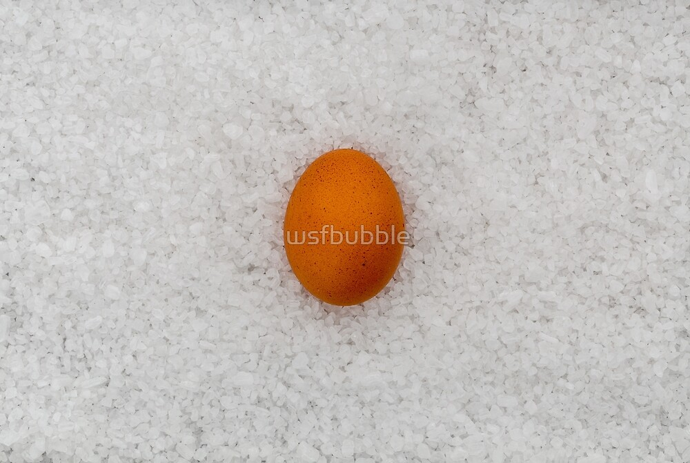 Egg with salt as a background by wsfbubble