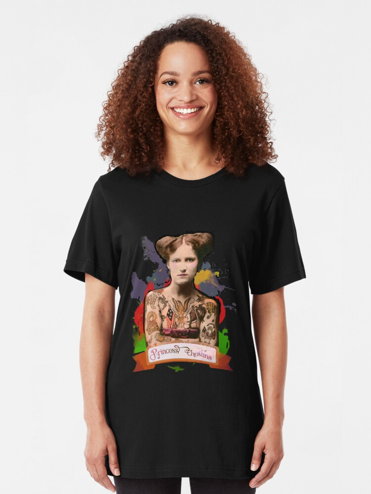 Alternate view of Princess Christina (The Tattooed lady) - The Britannia Panopticon Slim Fit T-Shirt