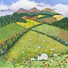 The Eildon Hills in Spring (watercolour and mixed media on paper) by Lynne Henderson