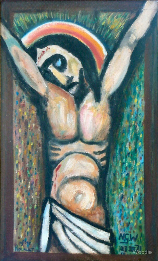 Jesus on Cross after Rouault by Woodie