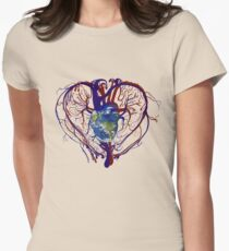 """Anatomical Kind """"Earth Heart"""" Medical Circulatory Get Well Kindness Womens Fitted T-Shirt"""