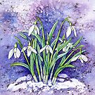 Snowdrops (watercolour on paper) by Lynne Henderson