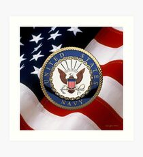 U.S. Navy - USN Emblem over American Flag Art Print