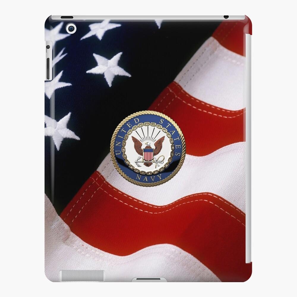 Marina de EE. UU. - Emblema de USN sobre bandera estadounidense Funda y vinilo para iPad