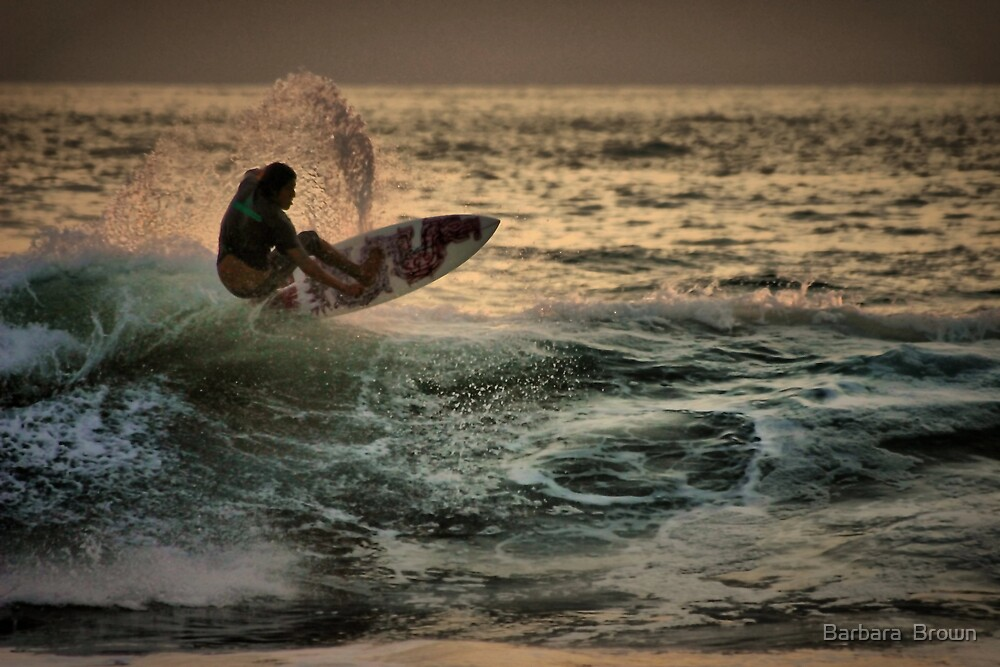 Evening Surfing by Barbara  Brown