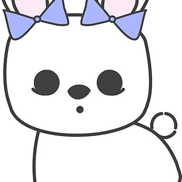 Bette Blanc de Hotot Bunny with Blue Bows: Grey Outline by meetminnie