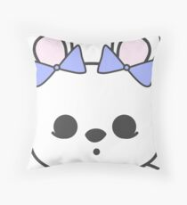 Bette Blanc de Hotot Bunny with Blue Bows: Grey Outline Floor Pillow