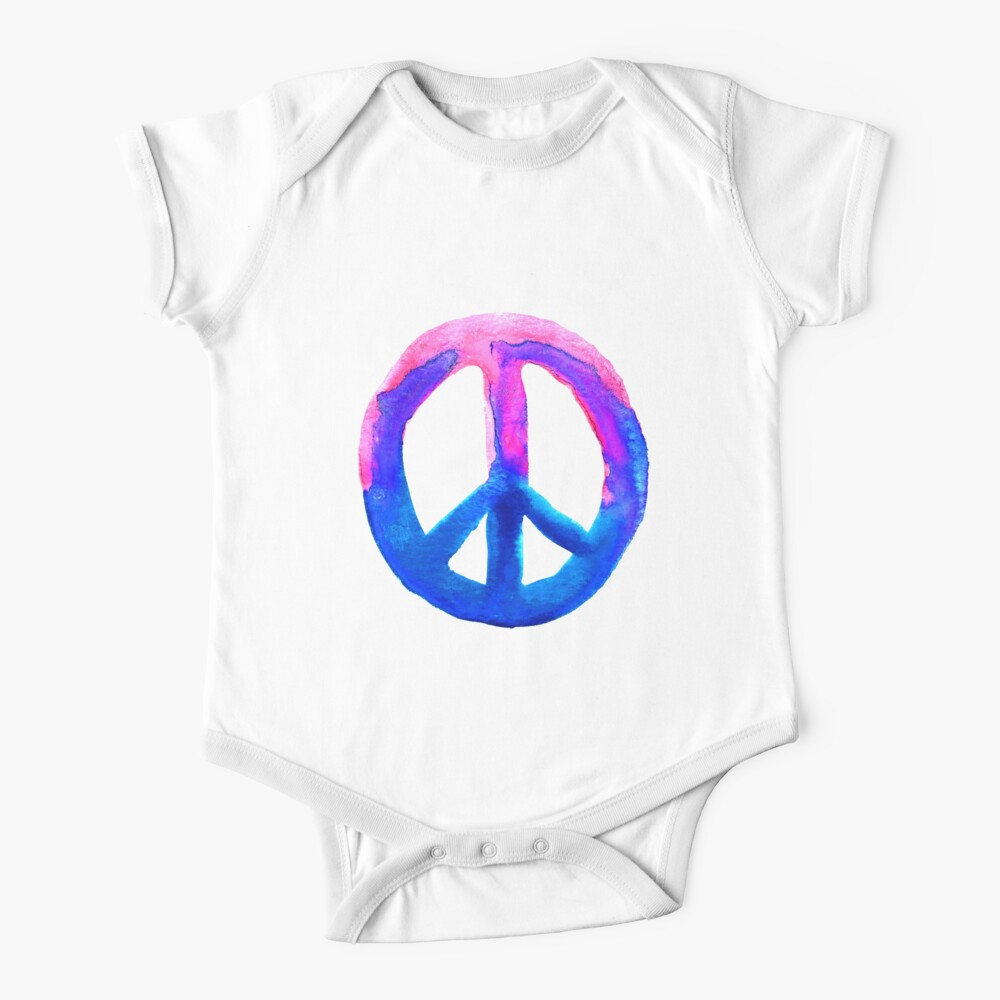 Pink Blue Watercolor Tie Dye Peace Sign Baby One-Piece