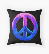 Pink Blue Watercolor Tie Dye Peace Sign Floor Pillow