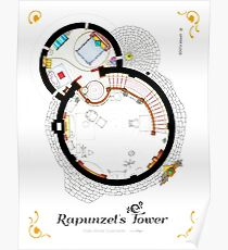 Layout of Rapunzel's Tower from TANGLED - Upper Floor Poster