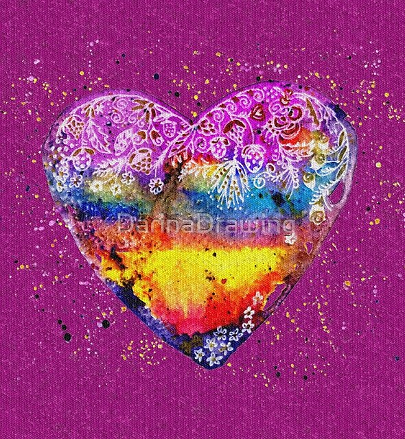 Rainbow Love watercolor illustration on tiles by DarinaDrawing
