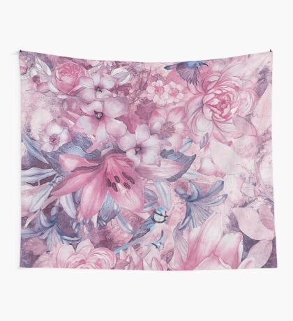 flowers and birds pattern #flowers #flora #pattern Wall Tapestry