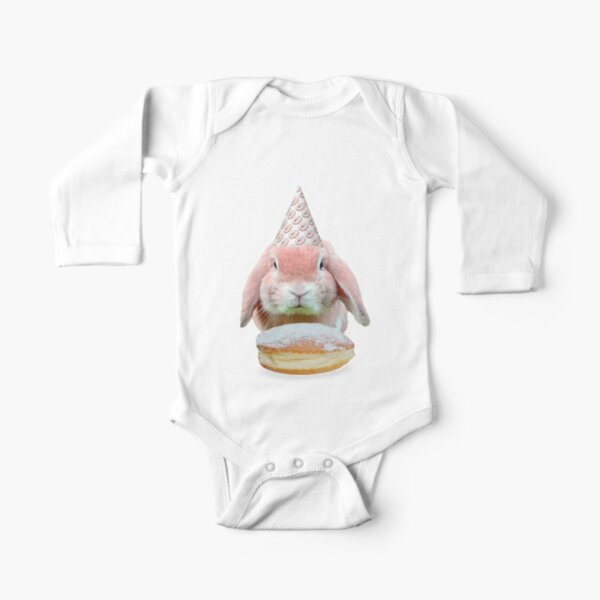 Rabbit Donut Party by Alice Monber Long Sleeve Baby One-Piece