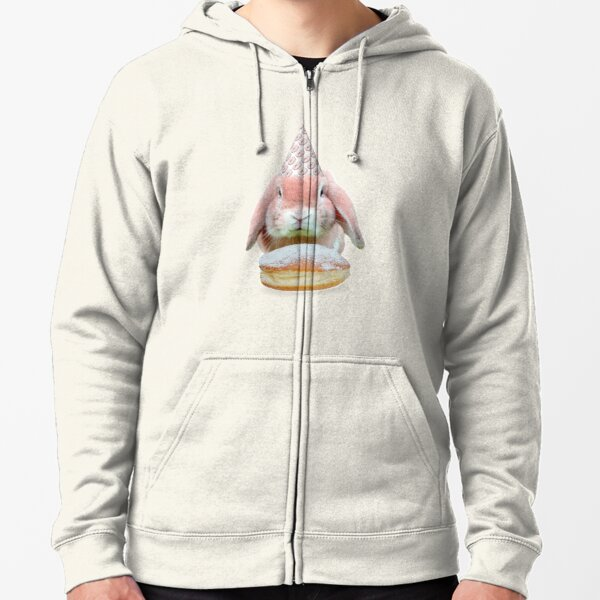 Rabbit Donut Party by Alice Monber Zipped Hoodie