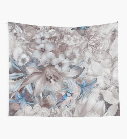 flowers and birds blue grey #flowers #flora #pattern Wall Tapestry