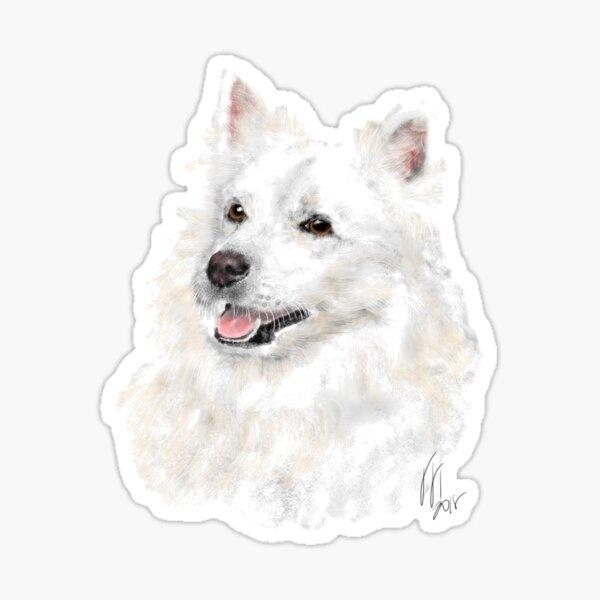 Smiling American Eskimo Eskie Pooch  Sticker