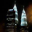 Night time Petronas Towers Kuala Lumpur Malaysia by sandysartstudio