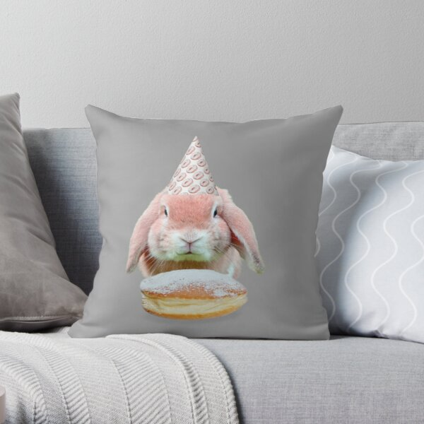 Rabbit Donut Party by Alice Monber Throw Pillow