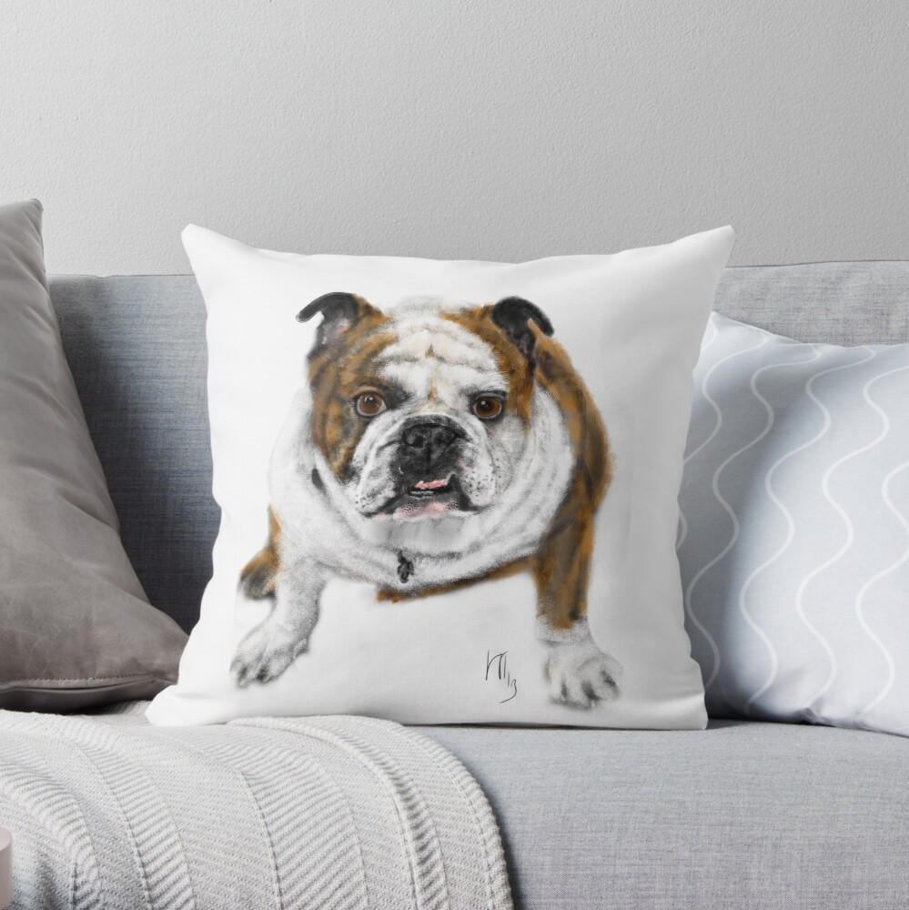 Stubborn Affectionate Bulldog Pup  Throw Pillow