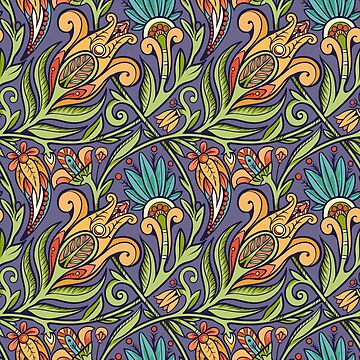 Seamless floral pattern. Green and oragne on violet background. by Nadiiaz