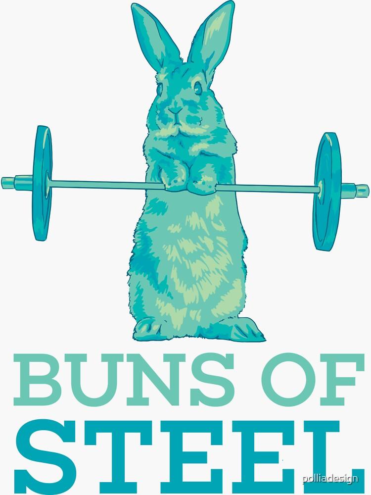 Buns of Steel Bunny Rabbit Lifting Blue by polliadesign